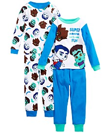 AME Toddler Boys 4-Pc. Cotton Super Monster Pajamas Set