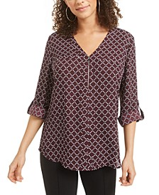 Juniors' Printed-Front Roll-Sleeve Top