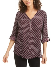 BCX Juniors' Printed-Front Roll-Sleeve Top