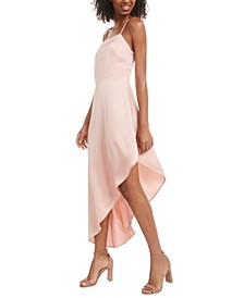 Juniors' Asymmetrical-Hem Satin Dress, Created for Macy's