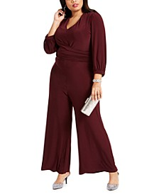 Plus Size Ruched Wide-Leg Jumpsuit