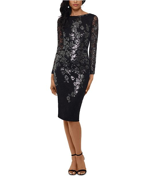 XSCAPE Petite Floral Sequin Dress