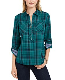 Plaid Zip-Neck Popover Top