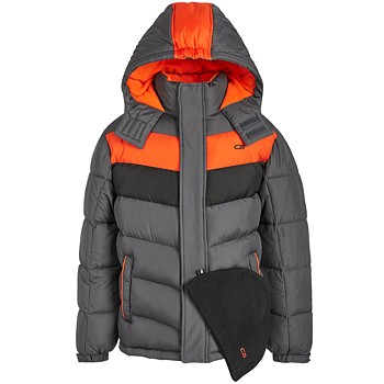 CB Sports Big Boys 2 Piece Colorblocked Puffer Jacket & Hat Set
