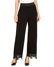 Alfani Petite Lace-Hem Palazzo Pants, Created for Macy's