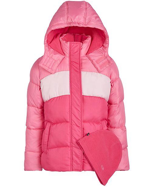 CB Sports Big Girls 2-Pc. Colorblocked Puffer Jacket & Hat Set