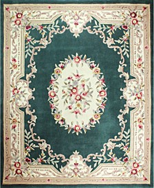 CLOSEOUT!  Palace Garden Aubusson Dark Green 5' x 8' Area Rug