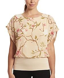 Floral Print Dolman Short Sleeve Chiffon Blouse