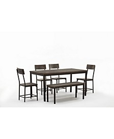 Americano Collection 6 Piece Dining Set with Large Table, Bench and 4 Chairs