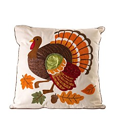 Glitzhome Cotton Embroidered Turkey Throw Pillow Cover