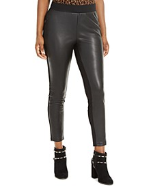 Faux-Leather-Front Leggings, Created For Macy's