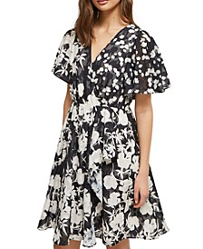 Flutter-Sleeve Fit & Flare Dress