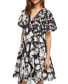 French Connection Flutter-Sleeve Fit & Flare Dress