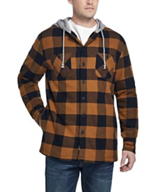 Weatherproof Vintage Men's Plaid Sherpa-Lined Shirt Jacket with Hood