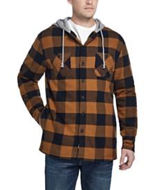 Weatherproof Vintage Men's Plaid Sherpa-Lined Shirt Jacket with Hood