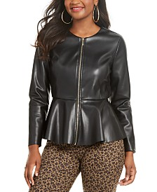 Thalia Sodi Faux-Leather Peplum-Hem Jacket, Created for Macy's