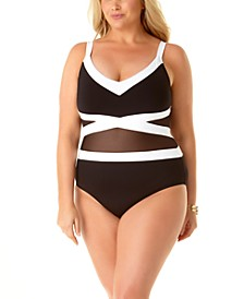 Plus Size Colorblock Mesh Underwire One-Piece Swimsuit