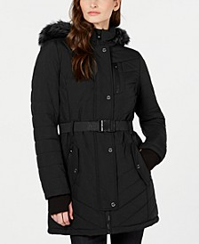 Active Belted Hooded Faux-Fur-Trim Puffer Coat