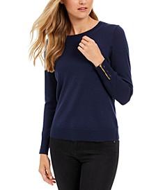 Petite Button-Cuff Merino Wool Sweater, Created for Macy's