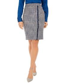 Calvin Klein Petite Tweed Fringe-Trim Skirt