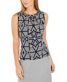 Calvin Klein Petite Sleeveless Printed Pleated-Neck Top