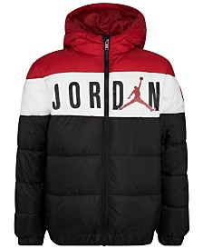 Jordan Big Boys Colorblocked Hooded Puffer Jacket