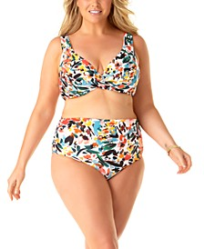 Plus Size Sunset Floral Twist-Front Underwire Bikini Top & Printed High-Waist Bikini Bottoms