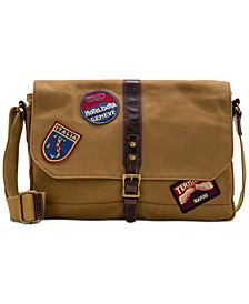 Men's Waxed Canvas Patch Messenger Bag