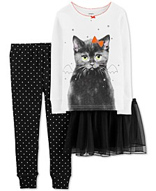 Toddler Girls 3-Pc. Cat Tutu Pajama Set