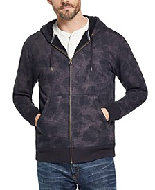 Men's Textured Camo Fleece Lined Hoodie