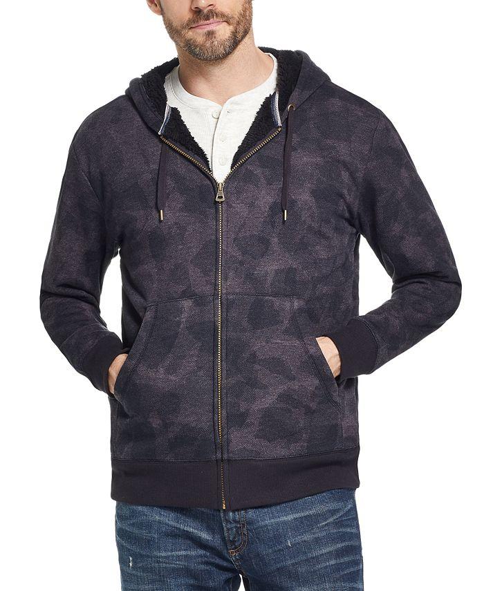 Weatherproof Vintage - Men's Textured Camo Fleece Lined Hoodie