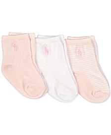 Baby Girls 3-Pk. Houndstooth Crew Socks