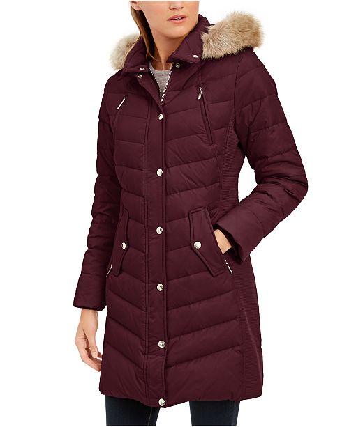 Michael Kors Petite Faux-Fur-Trim Hooded Down Coat, Created For Macy's