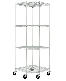 Ecostorage 4-Tier Corner Wire Shelving Rack with NSF Includes Wheels