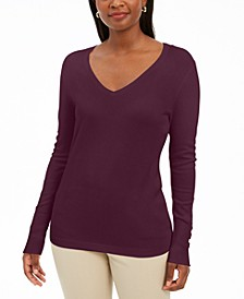 Embellished-Sleeve V-Neck Sweater, Created for Macy's