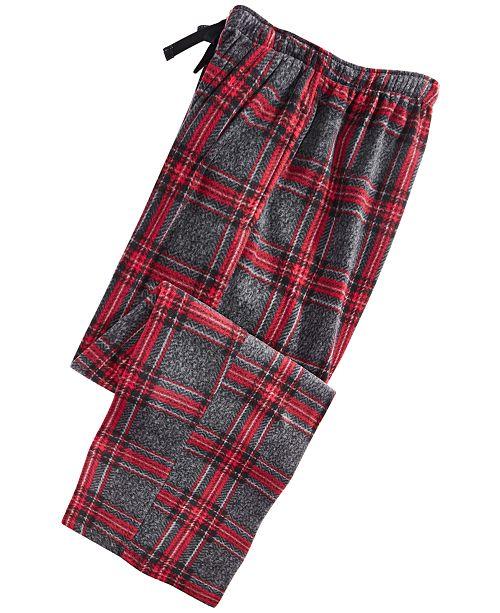 Perry Ellis Men's Large-Plaid Fleece Pajama Pants