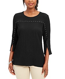 Embellished Textured 3/4-Sleeve Top, Created for Macy's
