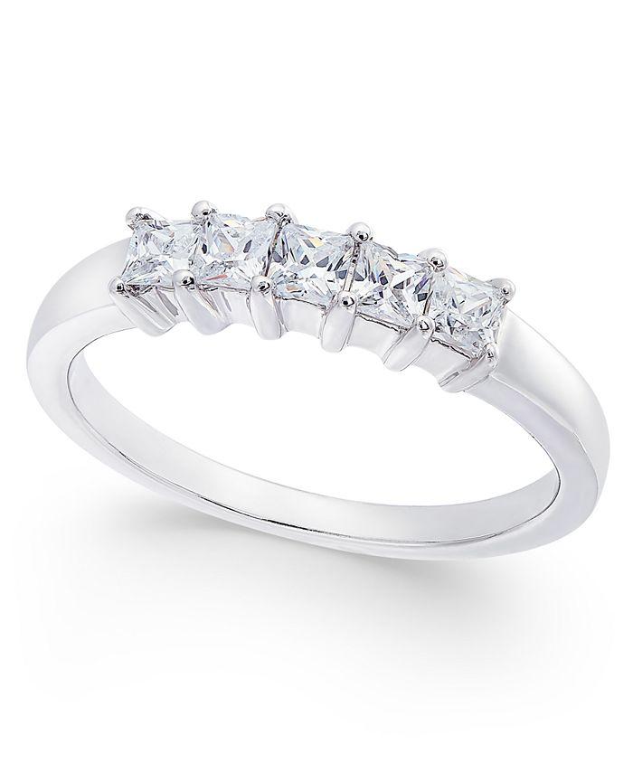 Macy's - Diamond 5-Stone Princess Band (1/2 ct. t.w.) in 14k White Gold