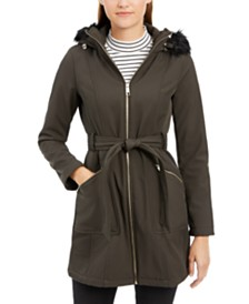GUESS Faux-Fur-Trim Hooded Coat
