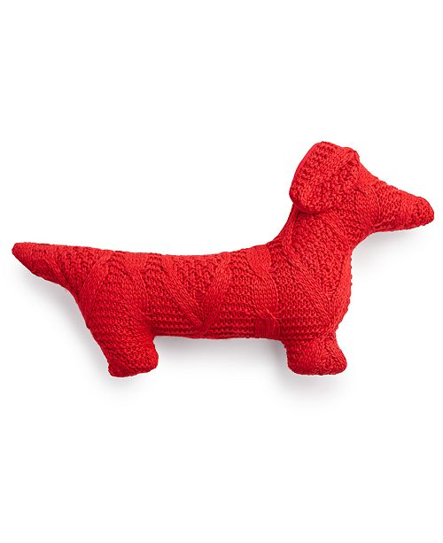 """Martha Stewart Collection Sweater Knit Figural Dog 14"""" x 25"""" Decorative Pillow, Created For Macy's"""