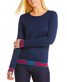 Lacoste Contrast-Trim Long-Sleeve Sweater