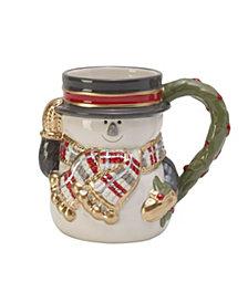 Fitz & Floyd Mistletoe Merriment Snowman Mug