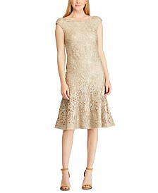 Lauren Ralph Lauren Foiled Lace Dress, Created For Macy's