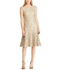 Lauren Ralph Lauren Foiled Lace Dress, Created For Macy's