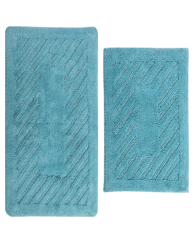 "Perthshire Platinum Collection Diagonal Racetrack 17"" x 24"" and 20"" x 30"" 2-Pc. Bath Rug Set"