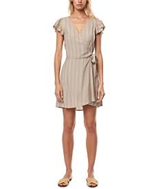 Juniors' Maurie Flutter-Sleeve Wrap Dress