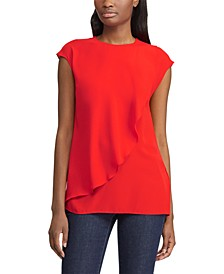 Ruffled Georgette Cap-Sleeve Top