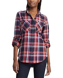 Plaid-Print Cotton Twill Roll-Tab Shirt