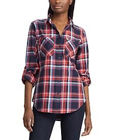 Lauren Ralph Lauren Plaid-Print Cotton Twill Roll-Tab Shirt