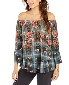 Style & Co Petite Floral Off-Shoulder Blouse, Created for Macy's